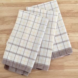 Set of 3 Vintage Brown, White and Yellow Cotton Kitchen Tea Towels